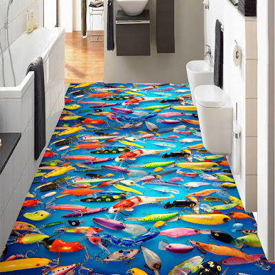 3d epoxy flooring for bathroom with colorful deep sea mural