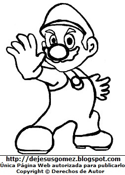 Ilustración de Mario Bros para colorear o pintar para niños. Dibujo de Mario Bros de Jesus Gómez