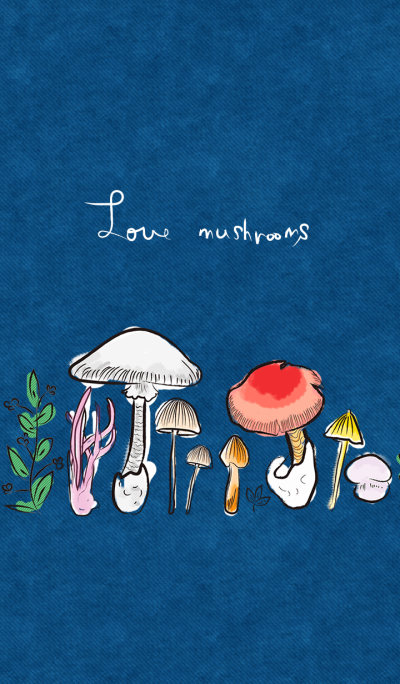 Textile design love mushrooms