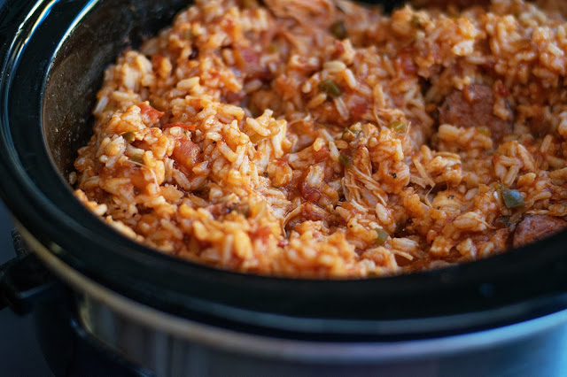 The finished crockpot jambalaya.