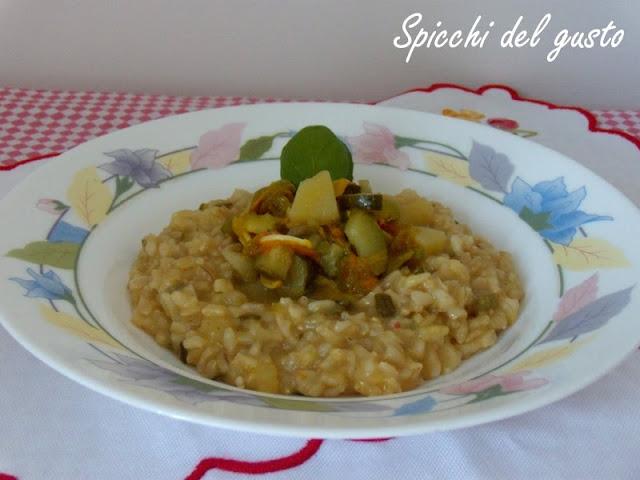 risotto con zucchine patate e fiori di zucca