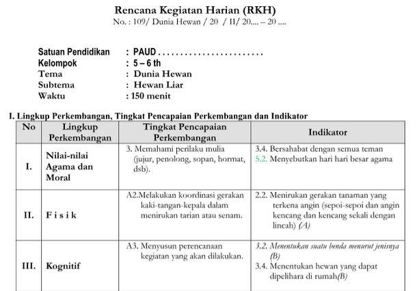 RKH Tema Dunia Hewan Kurikulum 2013 Revisi TK B