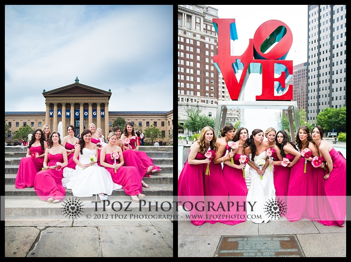 Love Park Philadelphia Art museum wedding bridesmaids