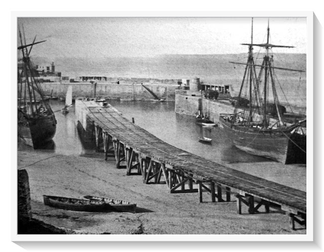 Vintage 1874 photo of Newquay Harbour, Cornwall