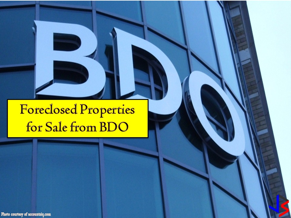 The following are the list of vacant lots for sale from BDO. If you are interested, you may directly contact BDO with the following information from their website.  Retail Properties (02) 702-7086 / 702-7088  Subdivision Properties (02) 702-7059 / 702-7060  Lease Assets (02) 702-7033 / 702-7825  You may also visit banks office address: BDO Asset Management Group/Sales Department 25/F Pacific Star Building, Gil Puyat Ave., cor. Makati Ave., Makati City  Note: Jbsolis.com is not affiliated with BDO and this post is not a sponsored. All information below is for general purpose only. If you are interested in any of these properties, contact directly with the bank's branches in your area or in contact info listed in this post. Any transaction you entered towards the bank or any of its broker is at your own risk and account.