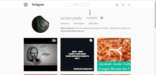 Cara Menonaktifkan akun Instagram Secara Permanen, masuk profil - pilih sunting profil