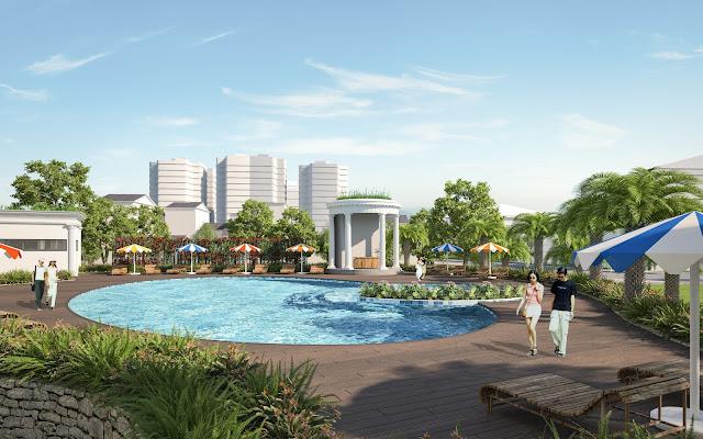 Không gian bể bơi chung cư Iris Garden