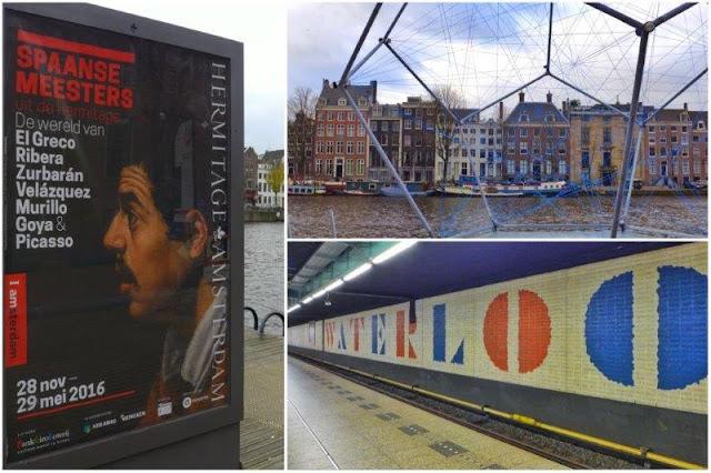 Cartel exposición los maestros españoles en el Hermitage Amsterdam – Amstel Canal frente al museo – Estacion de metro Waterlooplein