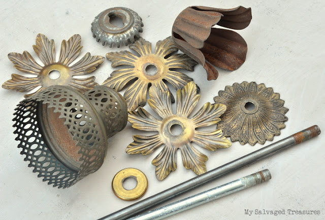 repurposed vintage lamp parts flower picture holders