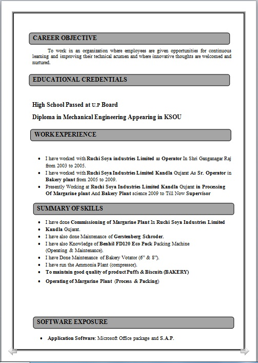 resume blog co  resume sample of diploma in mechanical engineering working as plant supervisor