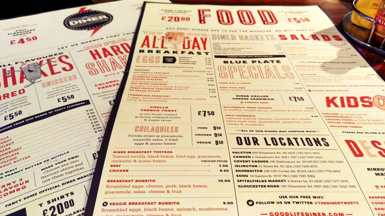 Food and Drinks menu for The Diner