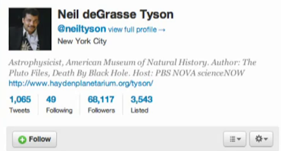 Neil deGrasse Tyson Twitter Mini-Profile