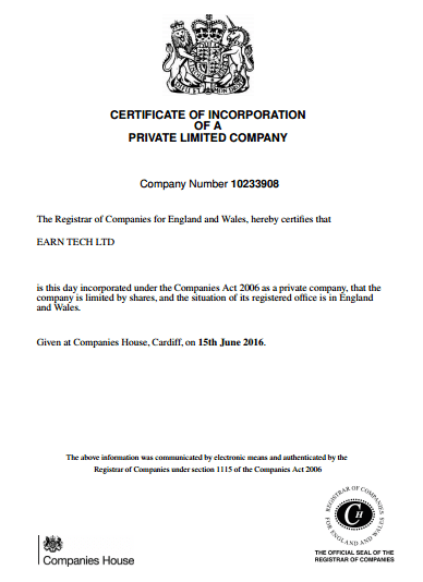 Сертификат Earn Tech