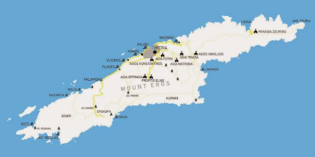 Hydra island map