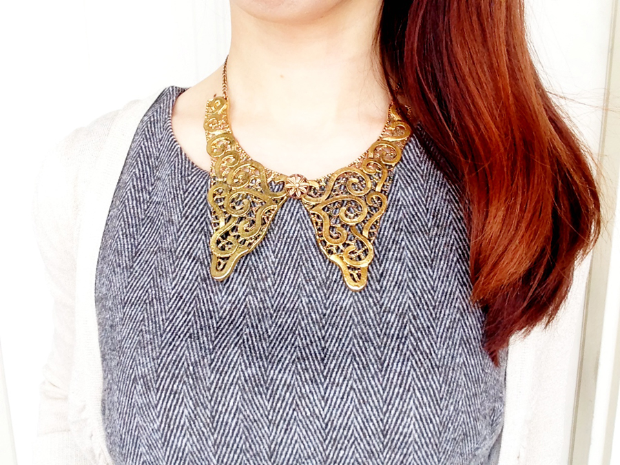 Gold butterfly collar necklace