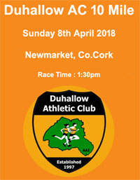 10 mile road race in Newmarket, Co.Cork...Sun 8th Apr 2018