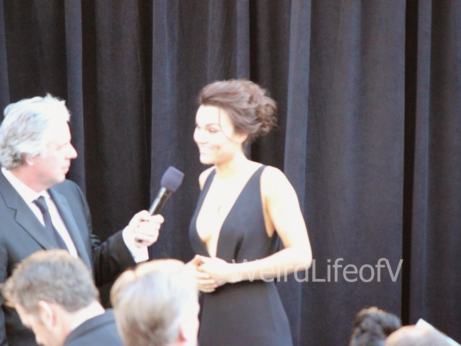 Samantha Barks being interviewed by Chris Connelly at the 2013 Academy Awards