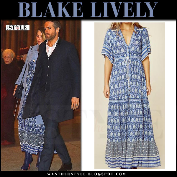 Blake Lively in blue print maxi dress spell and the gypsy collective oracle, blue suede gucci coat and blue boots louboutin what she wore