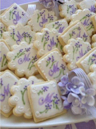 Lavender And Green Monogram Cookie Set