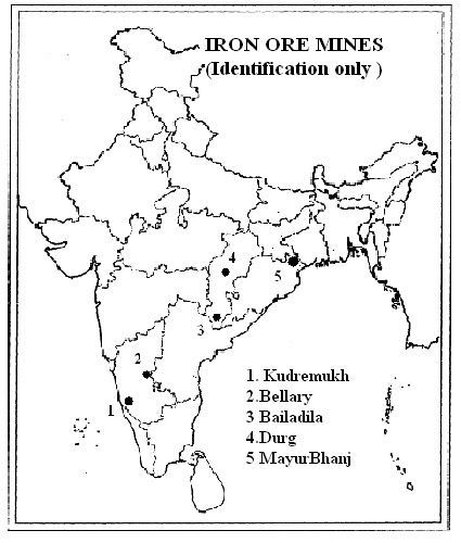 Map work regarding topic a Iron ore fields b Iron ore
