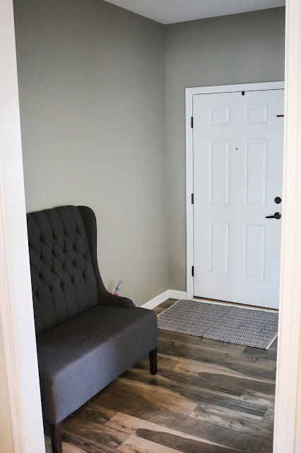Sherwin Williams Mindful Gray in windowless Entryway