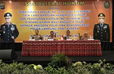 Polda Lampung Gelar Sosialisasi Hukum Tentang Bantuan Hukum oleh Polri dan Usaha Bagi Anggota Polri