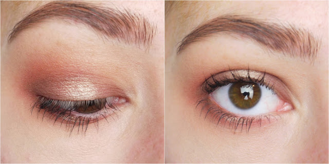 An eye look with soft browns and a gold halo centre