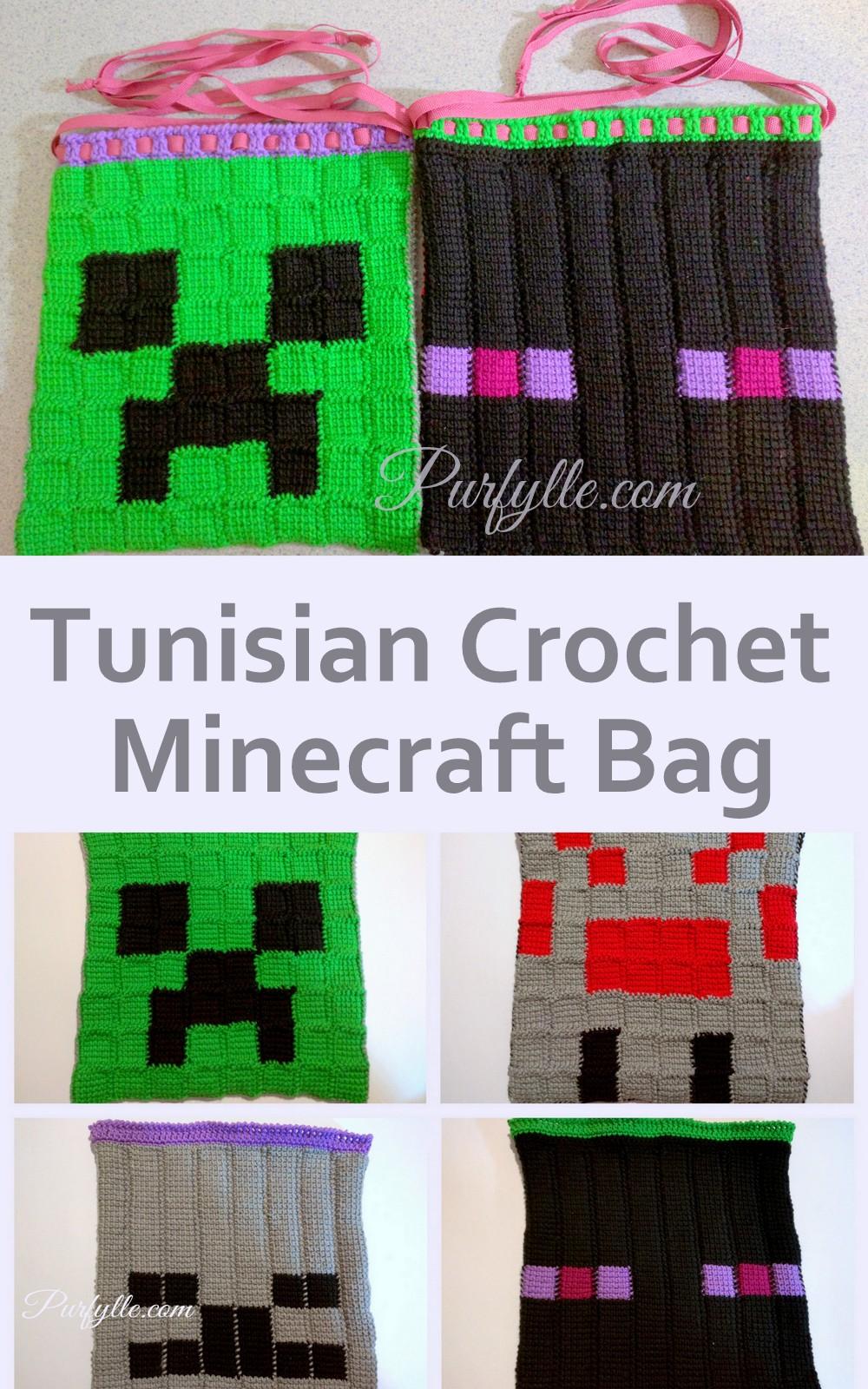 Minecraft Characters Tunisian Crochet Drawstring Bag Pattern