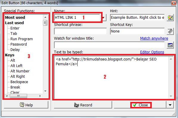 Jendela editor tombol pada fungsi Typeitin