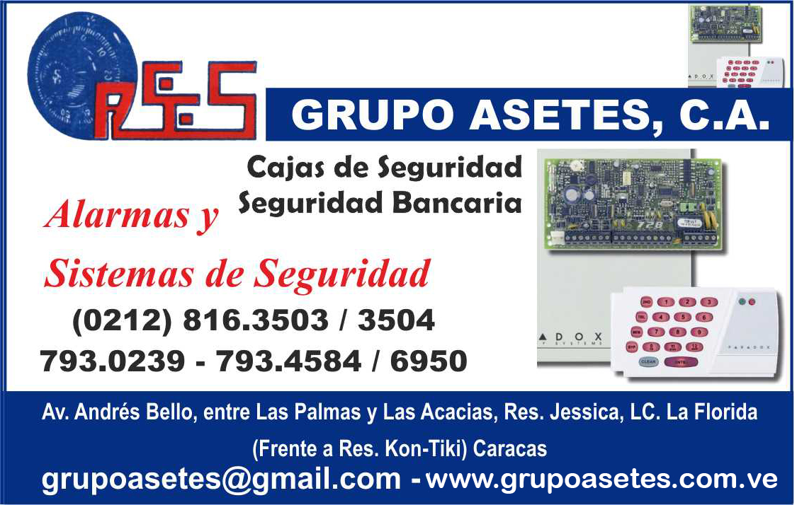 GRUPO ASETES, C.A., ALARMAS Y SISTEMAS DE SEGURIDAD en Paginas Amarillas tu guia Comercial