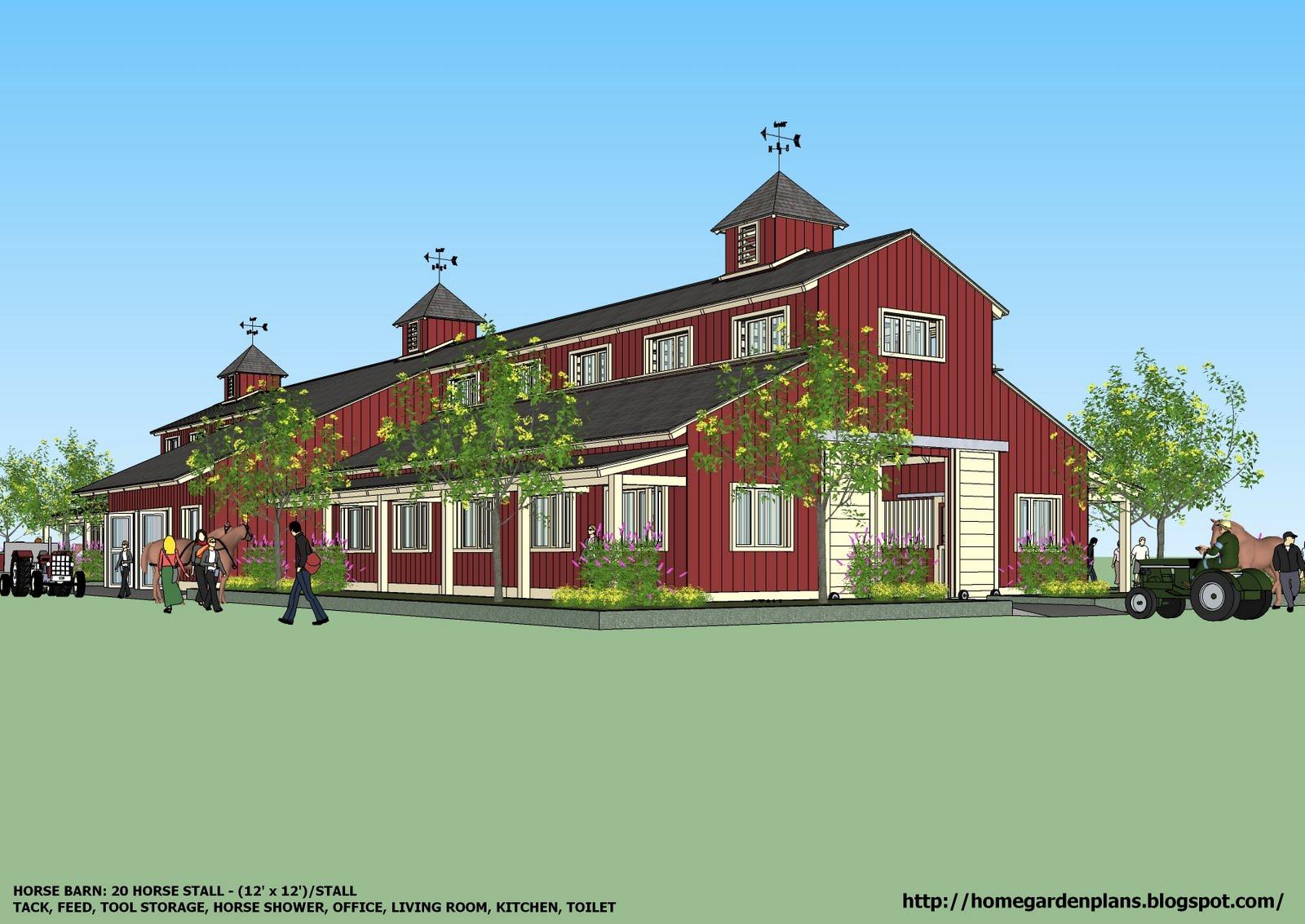 Home Garden Plans B20h Large Horse Barn For 20 Horse