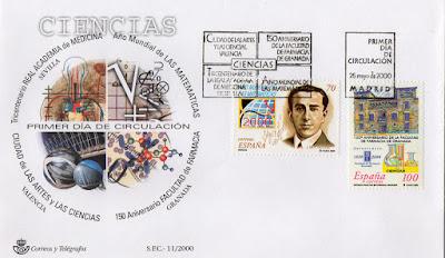 Sobre Primer Día de Circulación del sello dedicado a la serie Ciencias del año 2000. Año Mundial de Matemáticas y Facultad de Farmacia de Granada