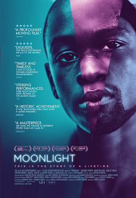 Image of the film Moonlight with Man looking at the camera. Text: 5 Starts a profoundly moving film. - theguardian. 5 Stars exquisite. This film is the reason we go to the movies.- TimeOut. Timely and timeless. Casts its gaze up toward something transcendent.-VanityFair. Sterling performances, Their glow fulfills every promise of the movie's name. -TIME. A historic achievement. It will transform lives long after it leaves theaters. - Playlist. A masterpiece. We leave the theater as different people than we came in. -Rolling Stone. MOONLIGHT. This is the story of a lifetime.