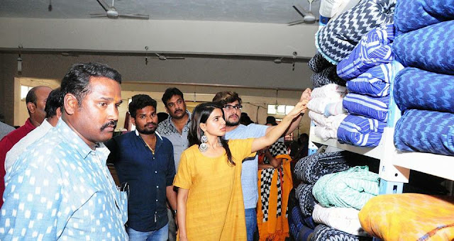 Samantha Visits Gundala Handloom weavers industry Photos