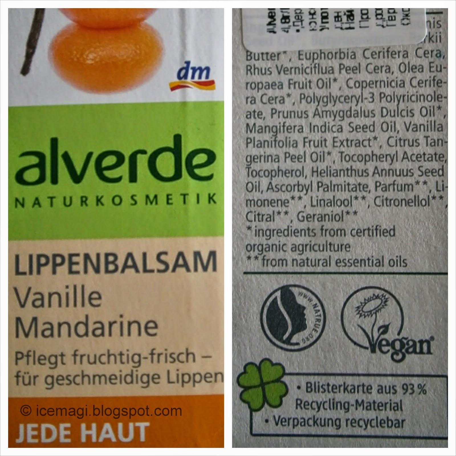 Alverde Vanillа Mandarin Lip balm