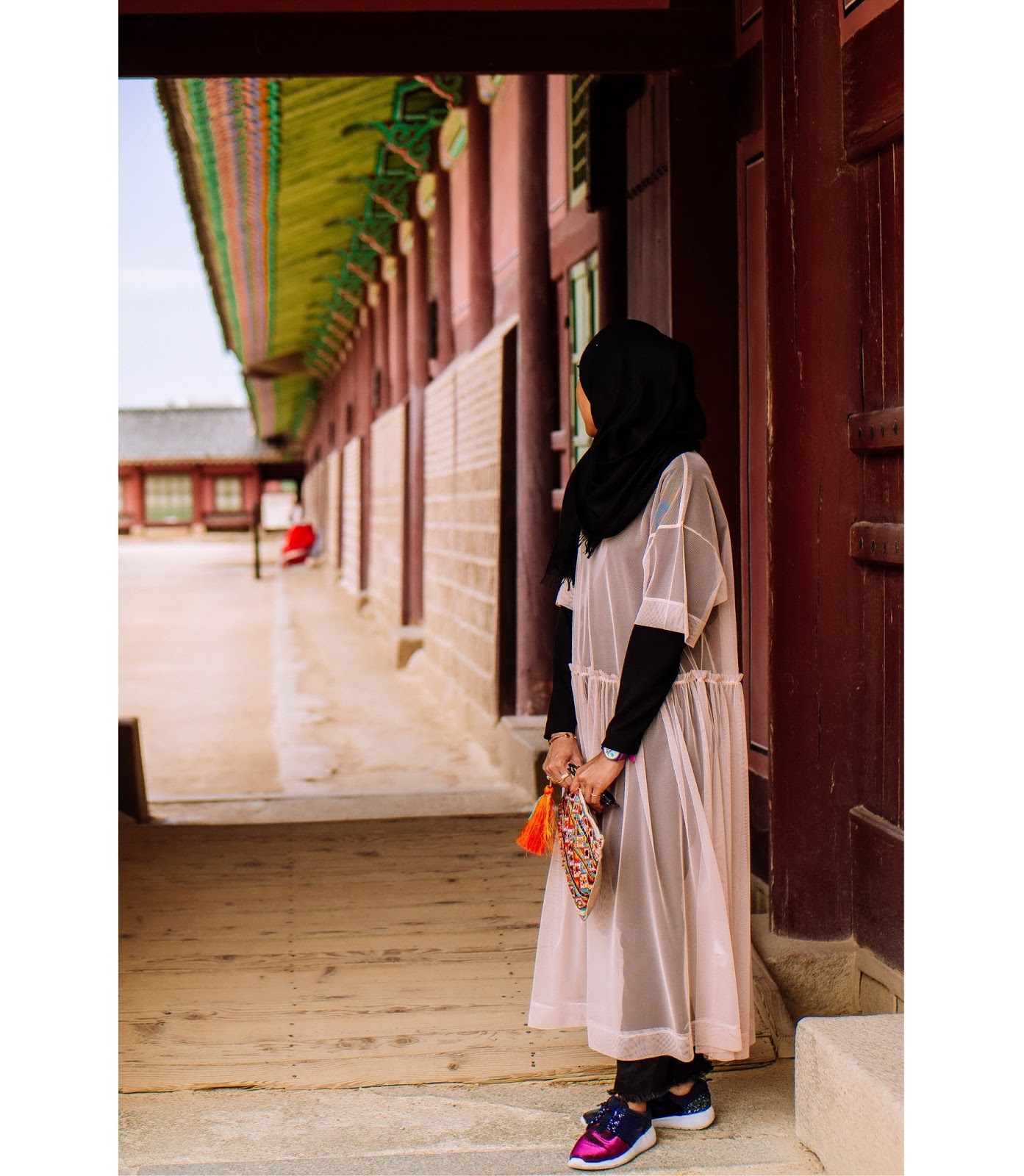 Peach Mesh Dress Colourful Bohemian Clutch Gyeongbokgung Palace Seoul