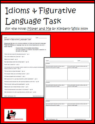 Free figurative language and idioms task sheet - great for novel study of Mister and Me - free from Raki's Rad Resources.