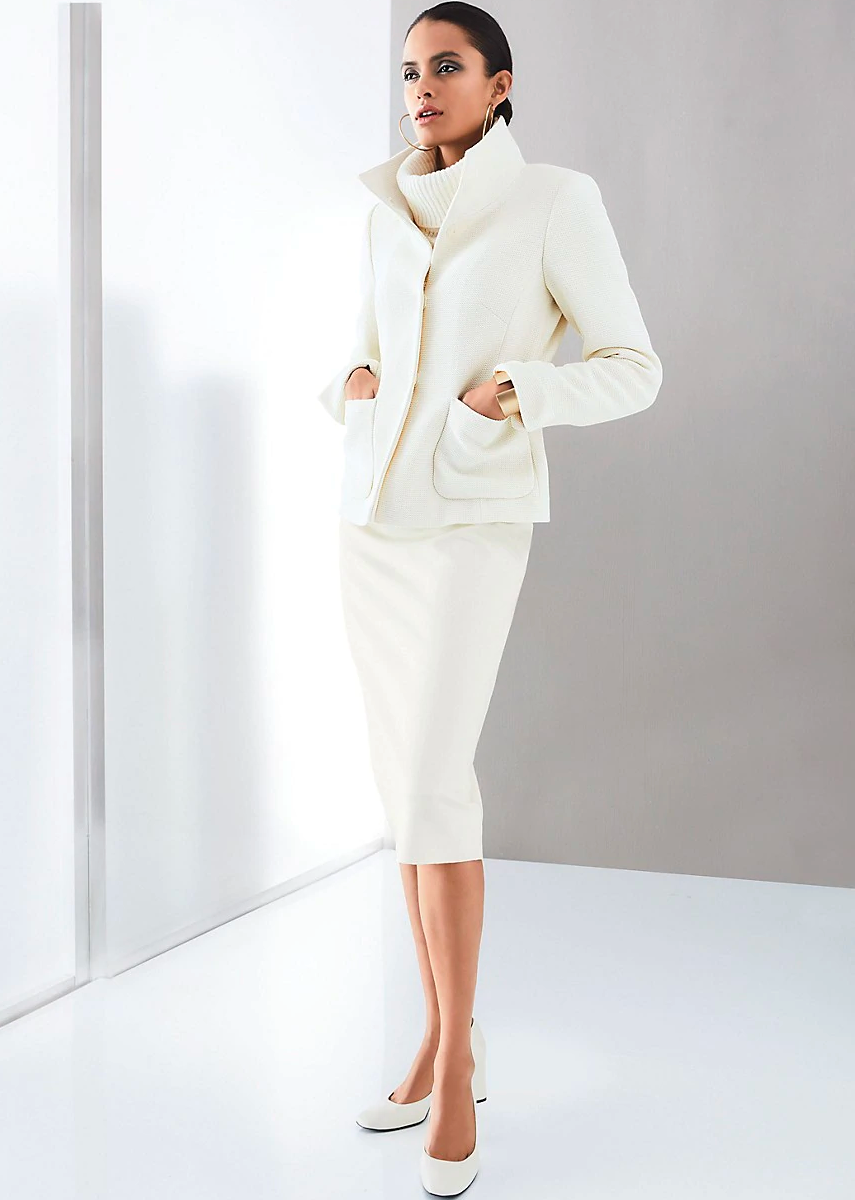MADELEINE WOOL WHITE BLAZER AND SKIRT