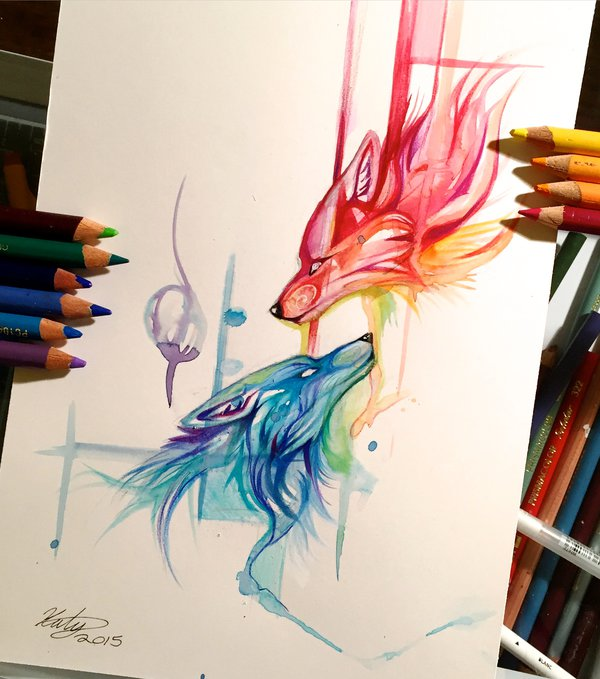 06-Wolfs-Fire-and-Ice-Katy-Lipscomb-Lucky978-Fantasy-Watercolor-Paintings-Colored-Pencils-Drawings-www-designstack-co
