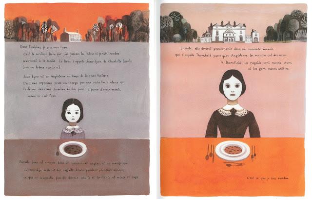 Ilustraciones del cuento Jane el zorro y yo, escrito por Fanny Britt e ilustrado por Isabel Arsenault
