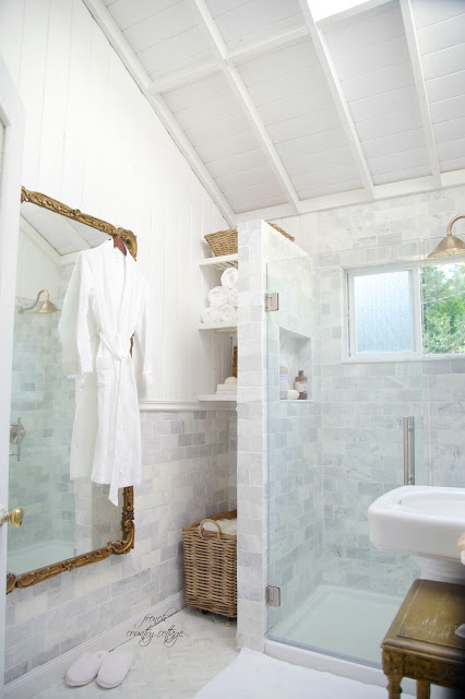 marble subway tile in bathroom