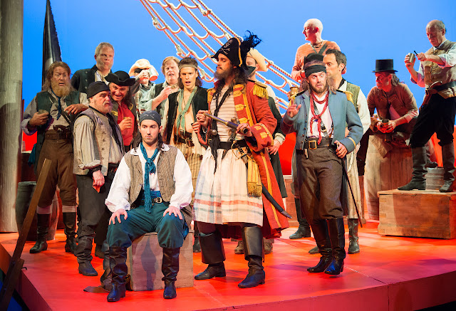 Gilbert & Sullivan: The Pirates of Penzance - ENO 2017 - David Webb, Ashley Riches, Johnny Herford and ENO Chorus (Photo Tom Bowles)