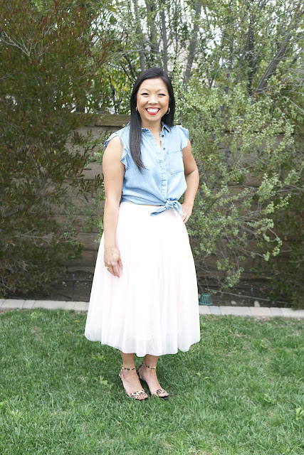 How to style Chambray and Tulle Skirt