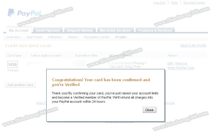 Giao diện thông báo đã xác thực thành công tài khoản Paypal