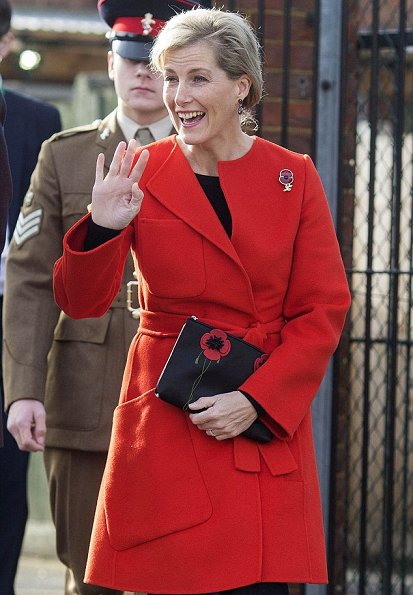 Countess Sophie wore Sportmax Maesa wool and angora blend coat, Lulu Guiness Poppy clutch, Smokey quartz earrings by Boho Betty