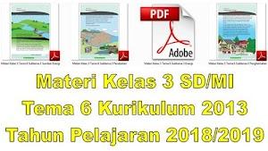 Materi Kelas 3 SD/MI Tema 6 Kurikulum 2013 Tahun Pelajaran 2018/2019