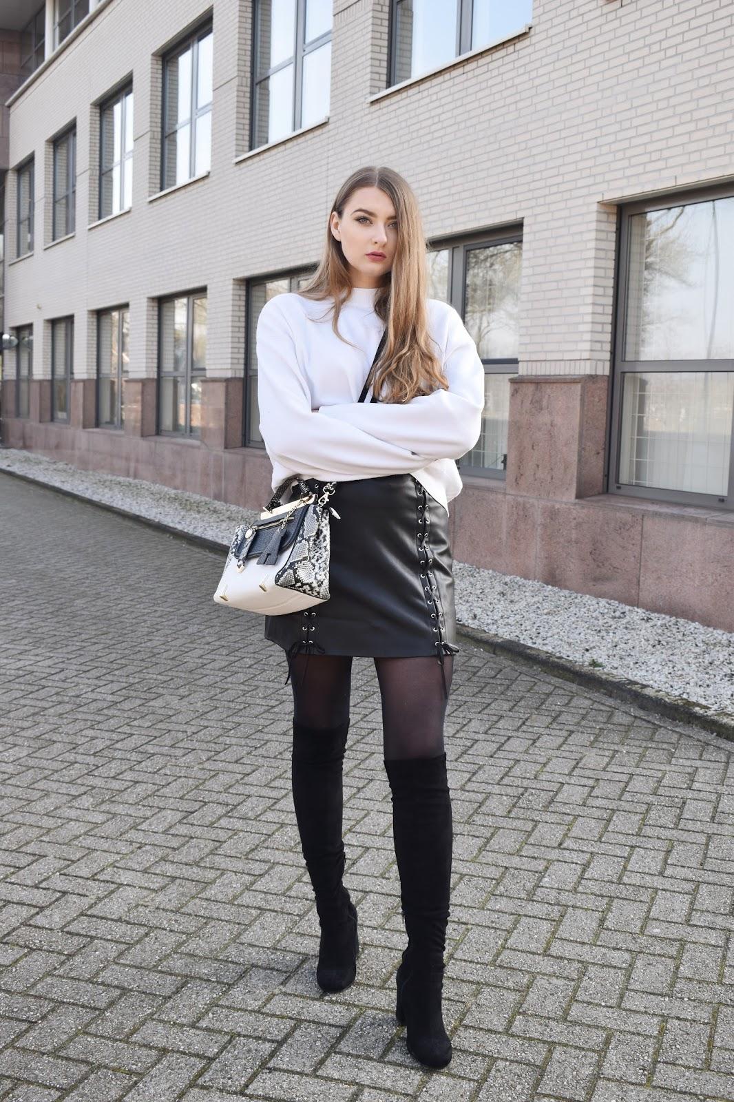 czarna skórzana spódnica stylizacje