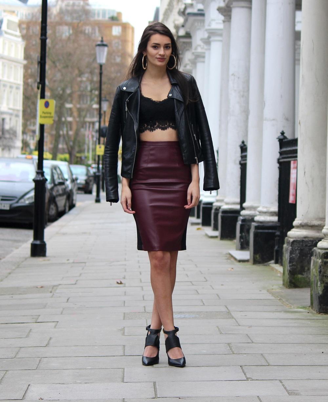 Leather jacket miss selfridge bralet topshop similar