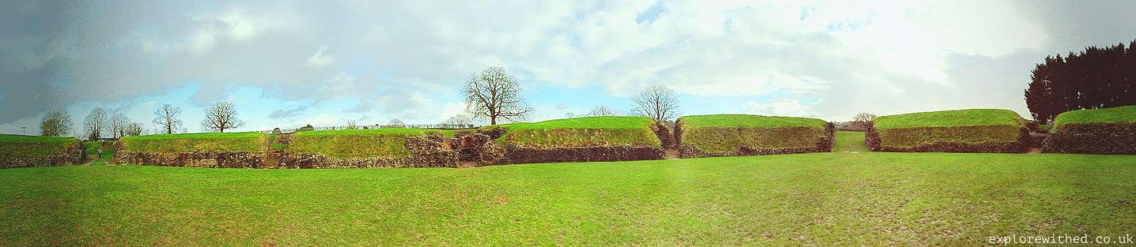 Panoramic view of Caerleon amphitheatre