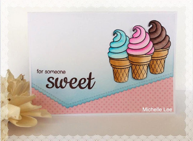 Sunny Studio Stamps: Sweet Shoppe Ice Cream Card by Michelle Lee